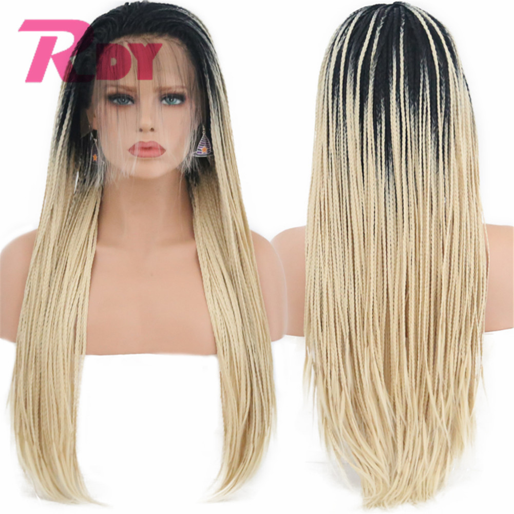 Rongduoyi Ombre Blonde Color Braided Synthetic Lace Front Wigs for Women Black Blonde Grey Braids Glueless