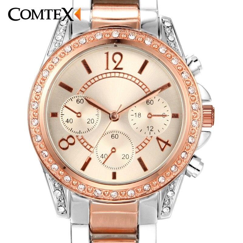 COMTEX Women Watches Rose Gold Watch 2017 Luxury Brand Design Ladies Wristwatch Fashion Women Quartz Watch  Waterproof Clock