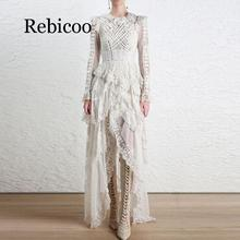 Rebicoo 2019 Stylish  Dress Women Long Sleeve Lacing Up Asymmetrical Cascading Ruffle Lace Dress stylish scoop neck long sleeve lace up knitwear for women