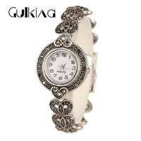 New 2017 Fashion Design Bracelet Watch Antique Silver Plated Bangles AAA CZ Bracelet For Women Lover