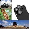 HOT New 4 en 1 lente Gran Angular + Macro + Fisheye + teleobjetivo lente de la cámara con la caja del teléfono para iphone 6 6 s 7 más