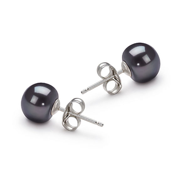 ccf781cf5eea 8-9mm negro botón natural perlas de agua dulce Plata de Ley 925 del perno  prisionero