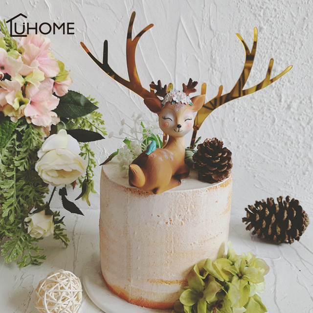 Christmas Wedding Cake Toppers.Us 1 53 29 Off Cake Topper Gold Acrylic Elk Antler Decor For Christmas Wedding Party Supplies Diy Pine Cone Cute Sleeping Elk Home Cake Decor In
