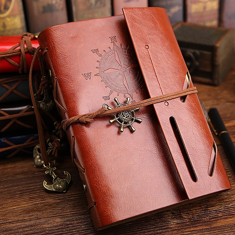1pc Spiral NoteBook Newest Retro Diary Book Vintage Pirate Anchors PU leather Note Book Replaceable Xmas Gift Traveler Journal
