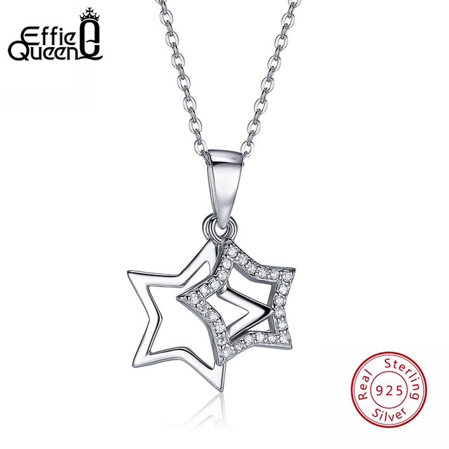 Effie queen shiny double star pendant necklace 925 sterling silver effie queen shiny double star pendant necklace 925 sterling silver aaa cubic zircon find jewelry for aloadofball Images