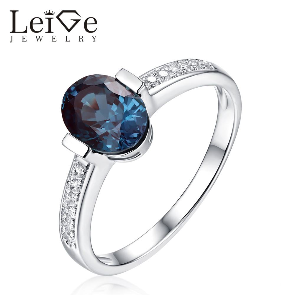 цена Leige Jewelry Oval Cut Alexandrite Ring Bezel Setting Blue Solitaire 925 Sterling Silver Engagement Rings for Women