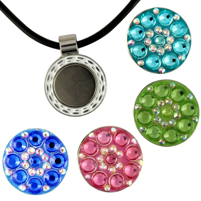Crystal golf ball marker with magnetic long necklace leather cord crystal golf ball marker with magnetic long necklace leather cord aloadofball Images