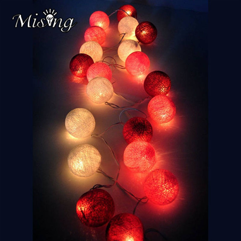 Mising 3.2M 20 LED Red Cotton Ball String Lights 3*AA Battery LED Outdoor Fairy Lights for Festival Christmas Party Decoration
