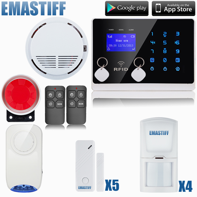 GSM SMS alarm system security home wireless Detector Sensor 433M Touch LCD Screen DIY Kits with FRID Cards,wireless flash siren daytech gsm sms alarm kits home security system professional siren wireless gsm remote control intelligent two way intercom