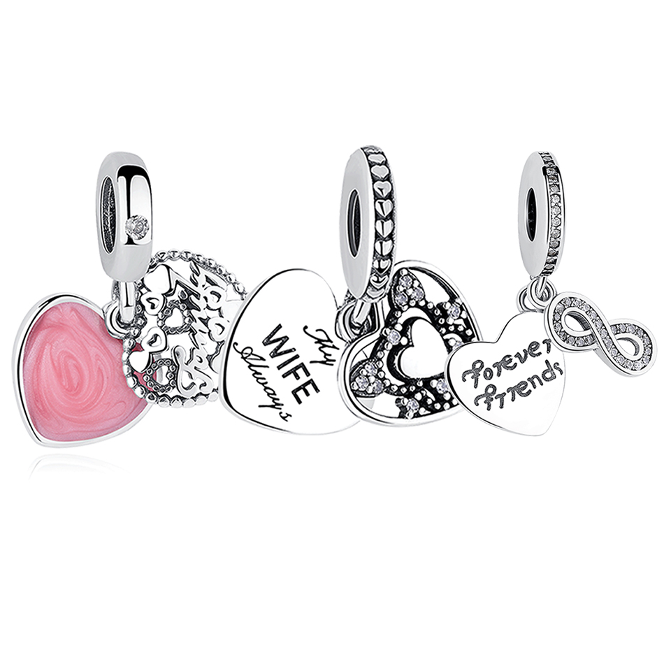 EVOJEW 925 Sterling Silver Heart Shape Love Beads Fit Original Pandora Charms Bracelet Beads & Jewelry Making Mothers Day GIFT