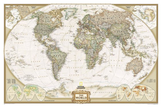 world map/canvas print/giclee/antique map in Map from Office