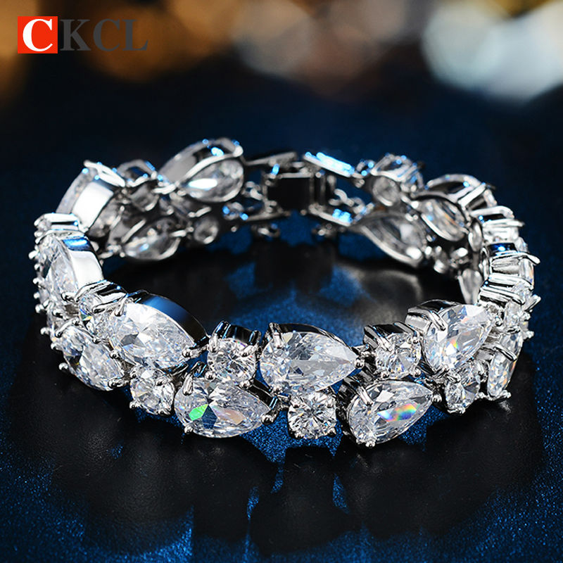 Top Quality Bracelet For Women Mona Lisa Gold Pleated Clear Cubic Zircon Bracelets Bangles Bride Gift
