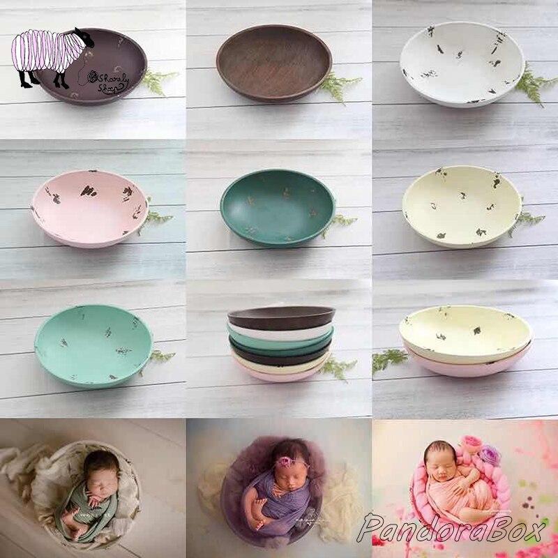 Wood Bowl Newborn Photography Prop Infant Baby Photo Shoot Studio Posing Wooden Bowl Basket Prop bebe fotografia Accessories Hats & Caps     - title=