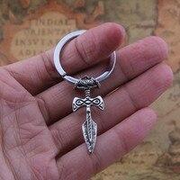 Yage 10pcs Talisman Norse Viking Sword Amulet Keychain Pendant Antique Silver Antique Bronze Antique Black Antique