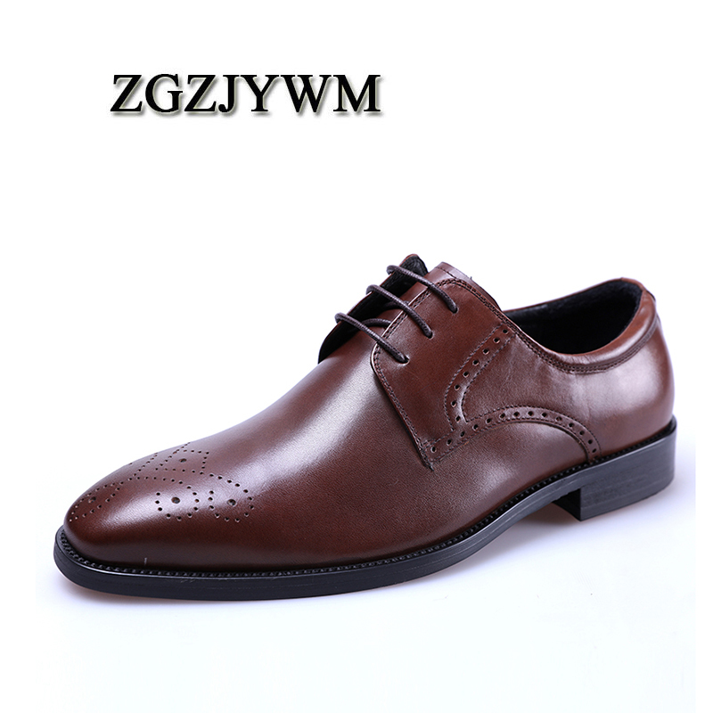 ZGZJYWM Fashion Men Oxford Wedding Brown Red Genuine Leather Business  Buckle Pointed Toe Lace- 32e76258c2d4