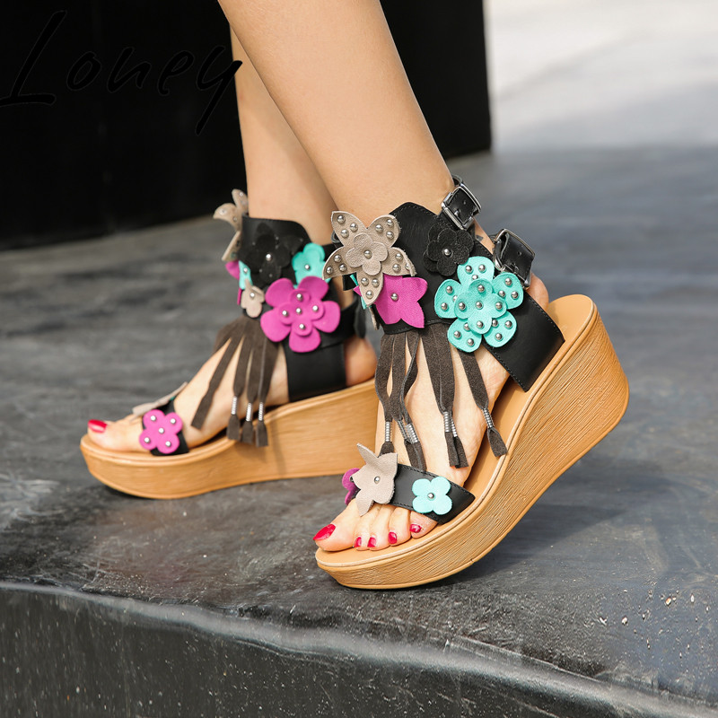 Loney New Genuine Leather Fashion Fringe Summer Sandals Floral Metal Deco Summer HIgh Heel Wedges Sandals Shoes WomenLoney New Genuine Leather Fashion Fringe Summer Sandals Floral Metal Deco Summer HIgh Heel Wedges Sandals Shoes Women