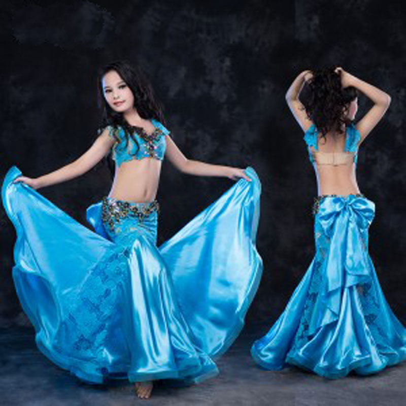 New Arrival Belly Dance Children indian Costumes Set dress 2pcs Tops Skirt Sexy Luxury kids Bollywood