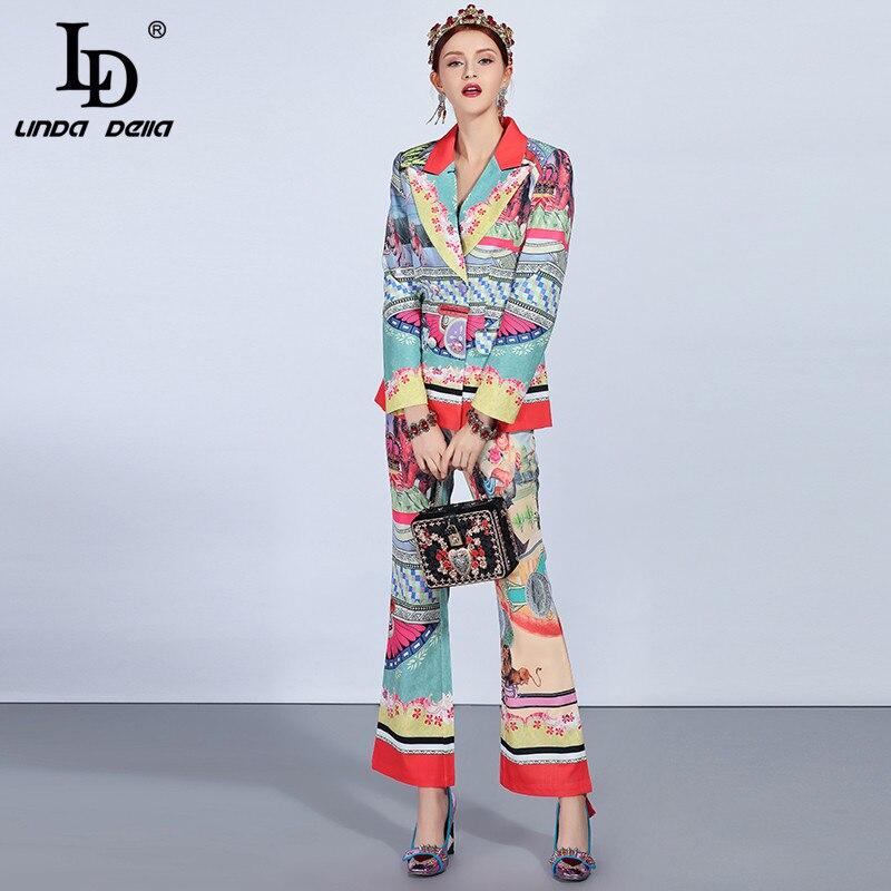 De Ensembles Automne Pantalons Femmes Jeu Della Imprimé Nouvelle Vestes Ld Vintage Linda Multi Hiver Costumes Mode Piste U8Zx1Xnq