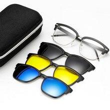 Sol polarizadas hombres adsorción imán Metal medias marco gafas de marca  diseñador mujeres gafas de sol uv400 oculos 3ddf70d5cf76
