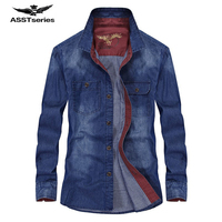 AFS JEEP Famous Brand Denim Shirt Long Sleeve Men Spring Autumn Casual Cotton Dress Shirt Men