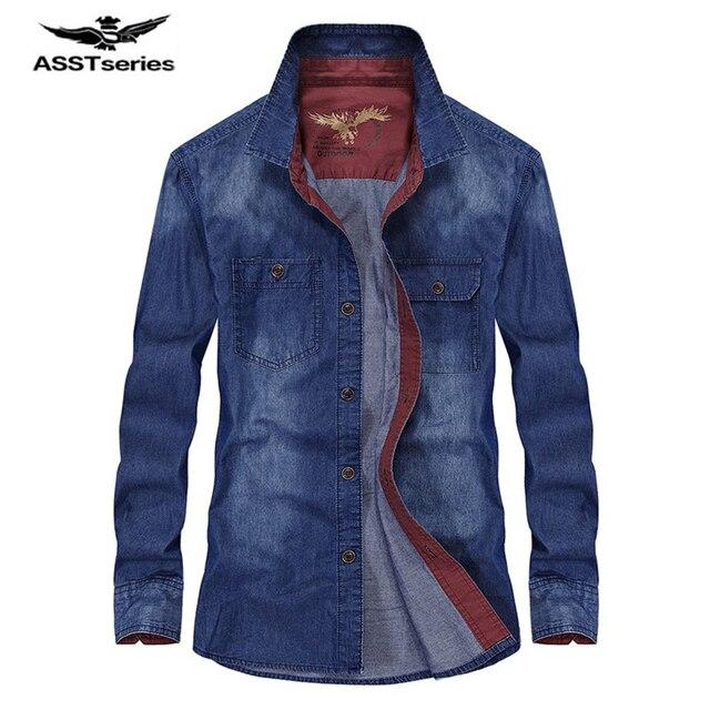 Afs джип известные бренды джинсовая рубашка Длинные рукава мужчин Весна и осень Повседневная хлопчатобумажное платье рубашка для мужчин в ковбойском стиле джинсовые рубашки мужские Z