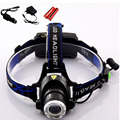 New Arrival Cree Xml T6 Led Headlight 2000 Lumens Headlamp Waterproof Head Torch + Car charger + AC charger+ 18650 batteries