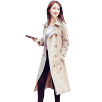 2017 New Spring Autumn Fashion Slim Trench Coat Women Casual Double Breasted Drawstring Loose X Long