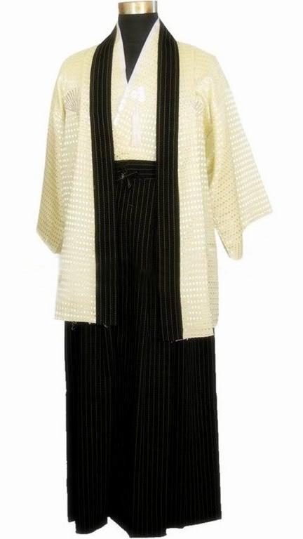 Beige Japanese National Trends Men's Warrior Kimono With Obi Traditional Yukata Novelty Performance Dance Costume One Size B-065