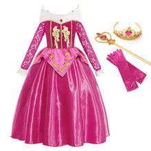 Aurora Dress Up Costumes for Girl Long Sleeve Sleeping Beauty Princess Costume Kids Christmas Party Birthday Fancy Dress