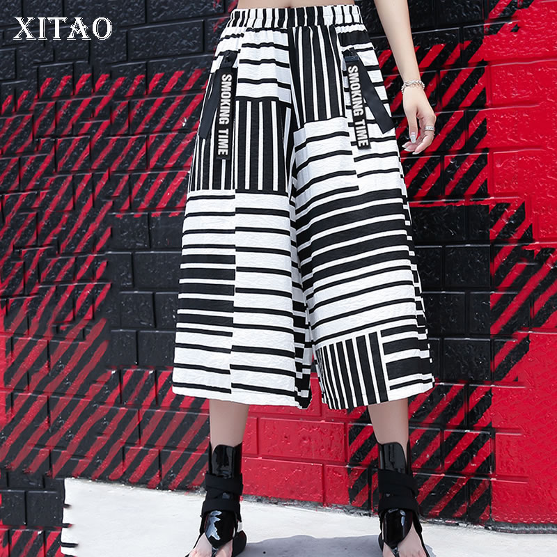 [XITAO] Spring Summer 2019 Women New Arrival Casual Loose Fashion Patchwork Print Striped Calf-length   Wide     Leg     Pants   XJ1017