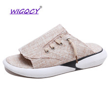 лучшая цена Canvas slippers women 2019 summer shoes women flip-flops women beach Slides home shoes non-slip soft bottom Lace-Up female shoes