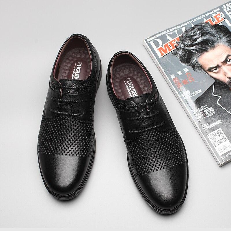 Ayakk.'ten Erkek Rahat Ayakkabılar'de Yaz Nefes düz ayakkabı! Ücretsiz kargo! FUGUINIAO Hakiki Deri gündelik erkek ayakkabısı/renk siyah, kahverengi/boyutu 38 44'da  Grup 3