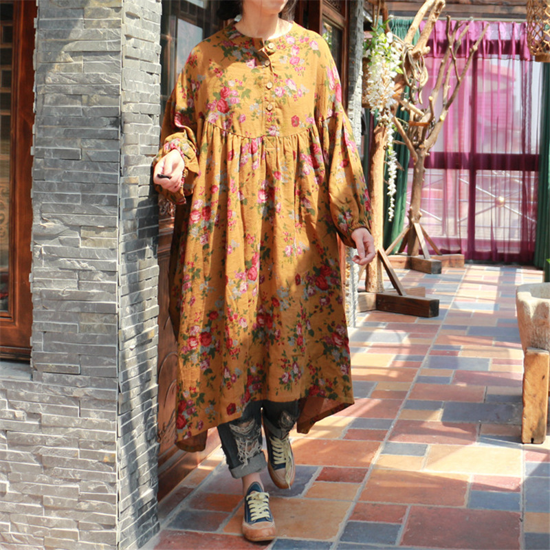 Johnature Women Floral Dress 2019 Spring Fall New Button Double Cotton Nine Sleeve Vintage Robes Loose