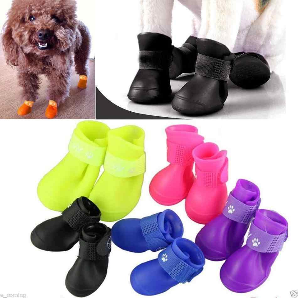 Pet Sapatos de Chuva Botas Meias Anti-slip Bota De Borracha À Prova D' Água para Pequenos Grandes Sapatos Cão Bonito Mini Animal de Estimação Produtos