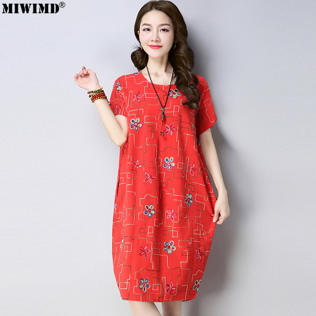 c358fa5483af MIWIMD Women Summer Dress 2018 New Fashion Casual Loose Cotton Linen  Embroidery Round Neck Short Sleeve O type Dresses Big Size