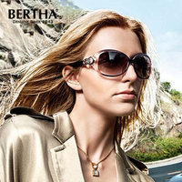 Bertha Women Polarized UV400 Sunglasses Fashion Inlay Metal Oversized Sunglasses 4#