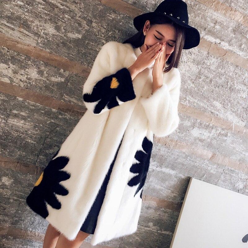 Abrigo de visón JKP 2018 nuevo abrigo de piel de visón Margarita flor éxito personalidad en la sección larga MZ28-20