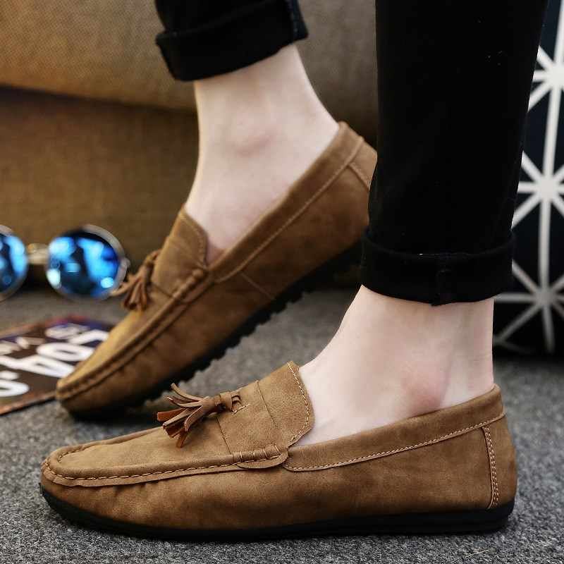 59ae0e3af0a00 Men Loafers 2018 Casual Boat Shoes Fashion Genuine Leather Slip On Driving Shoes  Moccasins tassel Men