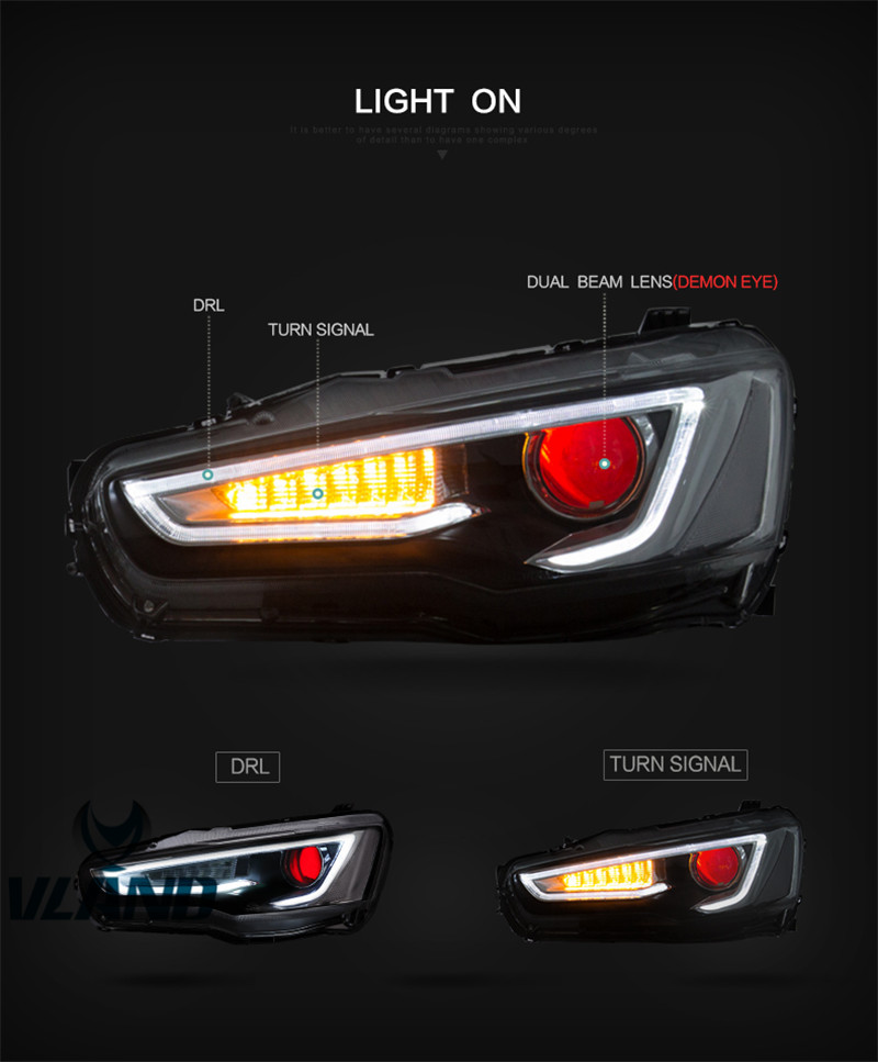 VLAND factory for car Head light for Lancer EX LED headlight with Red Lens and Flashing LED Signal Bi xenon projectors head lamp