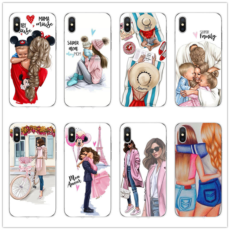 Baby Mama papa Maus Super Mom Mädchen prinzessin Mama Telefon Fall für <font><b>iphone</b></font> 6 <font><b>6s</b></font> 7 8 Plus X XS XR Max 5 5 S SE klar TPU telefon coque image