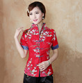 Hot Sale Red Traditional Chinese Blouse Women Cotton Linen Shirt Top V-Neck Short Sleeves Clothing Size M L XL XXL XXXL Mnz03B