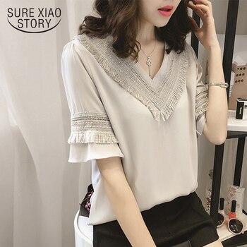 f7558c25b97e Nuevo 2019 de verano blusa de las mujeres camisa plus tamaño causal ropa de  las mujeres camisetas de cuello en V cuello las mujeres blusas tops 0216 40