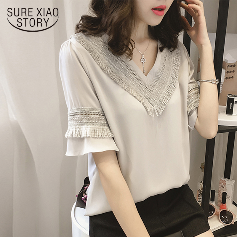 New 2019 Summer Women Blouse Shirt Plus Size Causal Women's Clothing Shirts V-neck Collar Solid Women Tops Blouses 0216 40