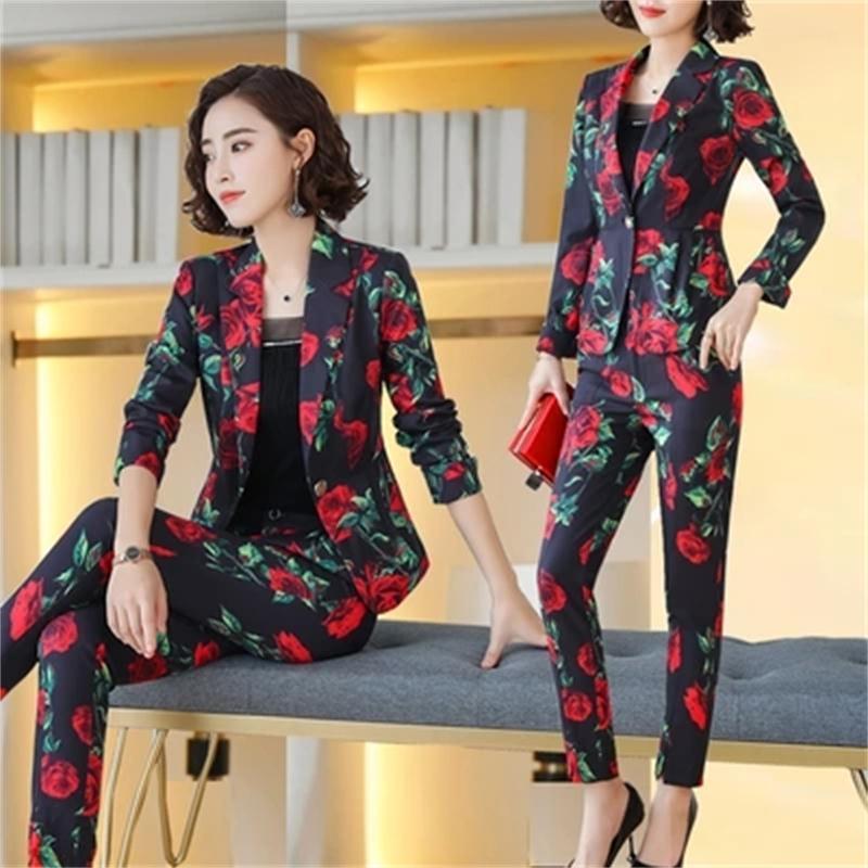 Fashion Suit Suit Female New Temperament Flower Suit + Pants Professional Wear Overalls Two-piece Women Increase Size4XL