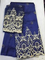George Lace With Bead Material 5yards African George Fabric + 2yards French Net Lace Sets High Quality For Nigerian Dress