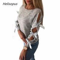 Helisopus 2019 Новый женский осенний женский однотонный вязаный джемпер свитер с длинным рукавом с вырезом и бантом Повседневный пуловер трикота...