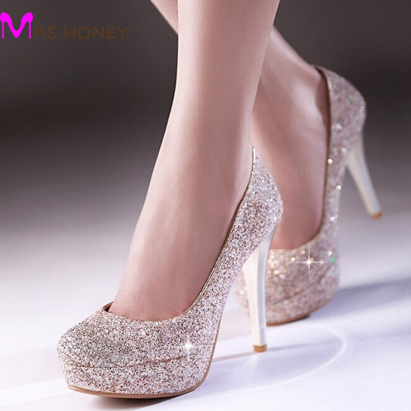Glitter lady spring dress shoes stiletto heel platforms for Gold dress shoes for wedding