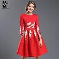 Jesień zima womans runway designer dress black red knee długość dress złoty biały kwiat haft wysokiej jakości zdarzenia dress