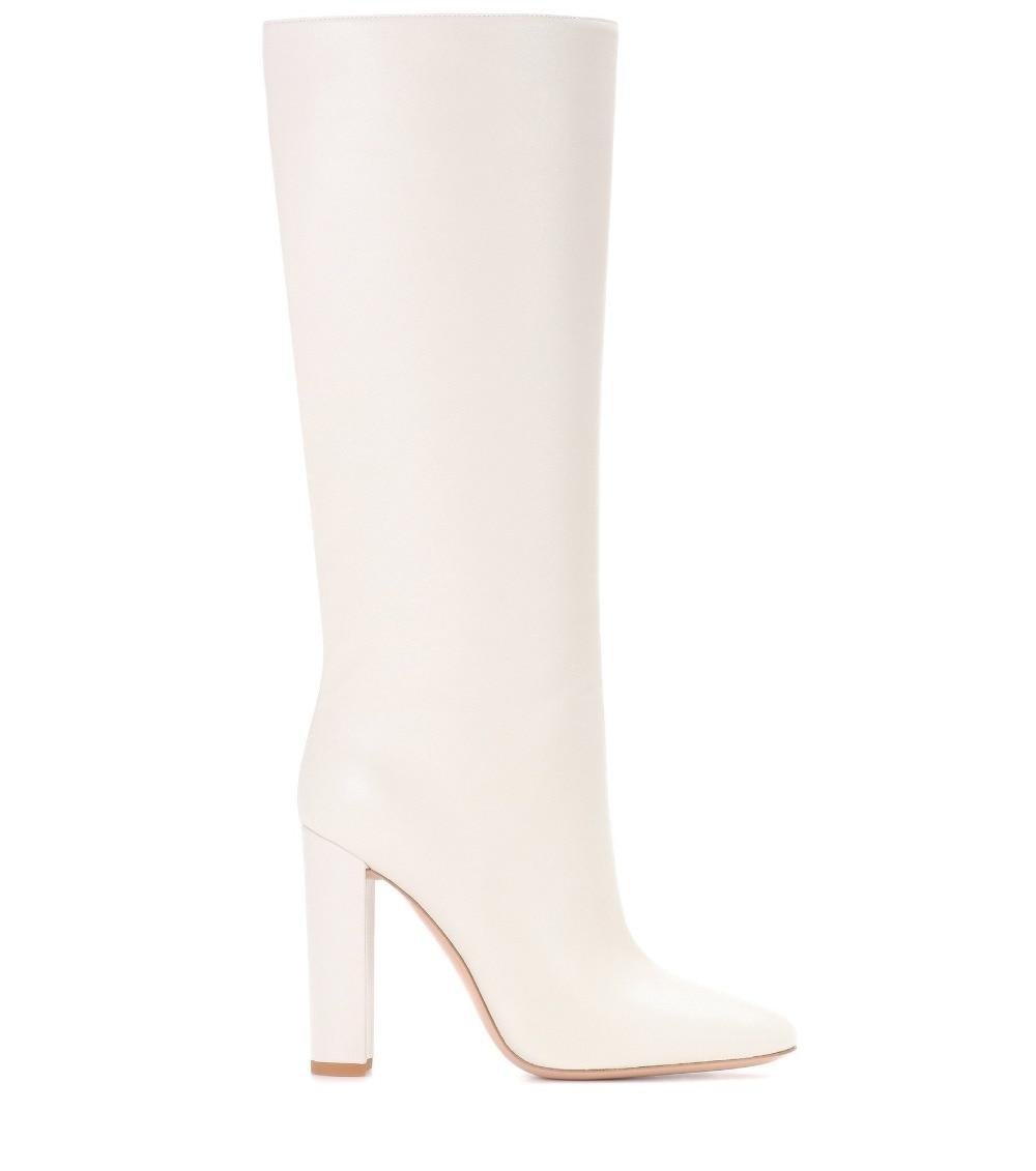 Dames Romain Chaussures Épais Haute De Style Botte Hauts Pointu Cuir Qualité Moto Blanches Femmes Bottes Talons Hiver Bout Pu Talon C5dww14