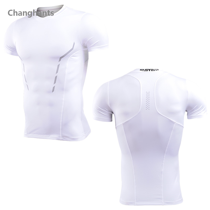 Men Fitness Short Sleeve T-shirt Stitching Running Basketball Tight Jerseys Quick Dry Sportswear Elastic Gym T shirts Tops